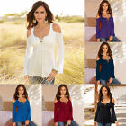 6 Colors Women Soft Cosy Lace Up Off Shoulder Pleated Shirt Top Blusas Blouse