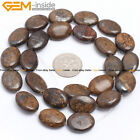 "Flat Olivary Oval Natural Stone Bronzite Beads For Jewelry Making 15"" Wholesale"