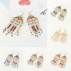 Hot Women Triangular Beads Tassel Pendant Drop Dangle Hook Earrings