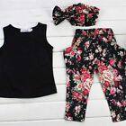 Kids Outfits Sleeveless Floral Print Girls Casual Clothes Set Hoodies Outwear CI