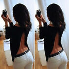 Backless Summer Fashion Women Casual Long Sleeve Shirts Chiffon Blouses Tops