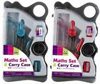 New Maths Set Stationary Set & Carry Case School Ruler Protractor Compass School