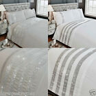 Carly Diamante Bands Duvet Cover/Quilt Cover Set Bedding Silver/Grey / White