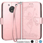 For Motorola Moto E4 2017 PU Leather Flip Wallet Case Card Holder Stand Cover