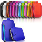 Slim Leather Pull Tab Case Cover Pouch & Stylus fits Various Phones