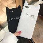 3D Cat Ears Beard Phone Cases Soft Silicone Cartoon Cover for iphone 5s 6 7 Plus