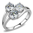 Stainless Steel 3 Round CZ Cocktail Cluster Wedding Engagement Ring