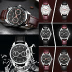 Mens Watch Date Faux Leather Stainless Steel Sport Quartz Business Wrist Watches
