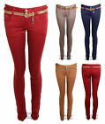 Ladies Skinny Slim Fit Style Belted Trousers Jeans Womens Pants 6, 8, 10, 12, 14