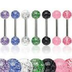 Set of 7 ULTRA GLITTER Tongue / Nipple bars JOB LOT  Choose Length