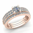 Real 1carat Round Cut Diamond Ladies Accent Solitaire Engagement Ring 10K Gold