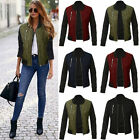 Women's Classic Padded Bomber Jacket Ladies Vintage Zip Up Biker Trench Coat US
