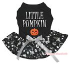 Halloween Black Top Silver Little Pumpkin Skull Tutu Pet Dog Dress Puppy Clothes