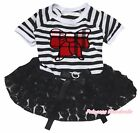 Plaid Kitty Bow Striped Top Black Romantic Rose Tutu Pet Dog Dress Puppy Clothes