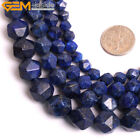 "Faceted Dyed Blue Lapis Lazuli Stone Beads For Jewelry Making 15""  For Cambay"