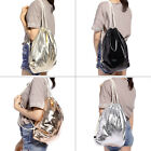Metallic PU Drawstring Backpack Rucksack School Gym Sport Shopping Travel Bags