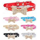 Small Pet Dogs Collar Bowknot Rhinestone Adjustable PU Neck Strap Necklace US