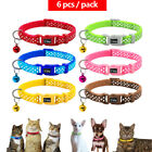 6/18/24pcs Polka Dots Pet Puppy Cat Kitten Small Dog Collar Adjustable with Bell