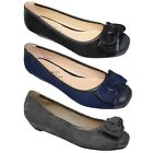 FLH872 Missy II Bow Accent Faux Suede Leather Detail Low Wedge Pump Flats