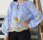 ZARA SKY BLUE WHITE NAVY STRIPED TUNIC WITH YELLOW EMBROIDERY & TASSELS 0881/076