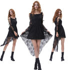 Retro Victorian Steampunk Gothic Vampire Costume Long Sleeve Black Lace Dress