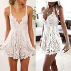 Women Summer Clubwear V Neck Bodycon Party Lace Dress Backless Dress White