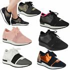 WOMENS LADIES GIRLS LACE UP TRAINER BALI RUNNER MESH STRETCH BAND FASHION PUMPS