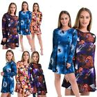 Women Halloween Pumpkin Web Print Flared Skater Long Sleeve New Swing Dress Top