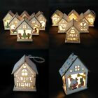 Beautiful Christmas Wood HOUSE Ceramic Tree LED light Ornament Decoration Cute