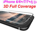 3D Full Coverage cover Tempered Glass Screen Protector For iphone 6 6s 7 8 8+ X