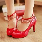 Sweet Women Patent Leather Ankle Strap Round Toe High Heel Stilettos Pumps Shoes