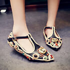 Retro Womens Embroidered Rhinestone Flat Heel Pointy Toe Shoes T Strap Buckle SZ