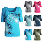 Women Lady Short Sleeve Loose Casual Feather Print T-shirt Tops Blouse S-2XL US