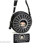 Betty Boop Cylinder quilted rhinestones rhound box Cross-Body Bag wallet set $44.19 USD