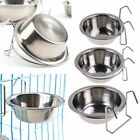 Stainless Steel Hanging Bowl Feeding Bowl Pet Bird Dog Food Water Cage Cup NEW