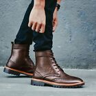 British Men Gladiator Lace Up Wing Tip Leather Punk Ankle Boots Warm Knight Boot
