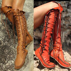 NEW Women's Hollow Out Cross Lace Up Flats Mid Calf Gladiator Boots Size