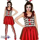 Womens Harlequin Jester Clown Halloween Fancy Dress Costume Outfit + Hat Tights