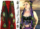 PEACOCK FEATHER Tribal Fusion BELLY DANCE HIP BELT Hair Jewelry GOTHIC YARN FALL