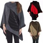 Ladies 3 Button Knitted Poncho Wrap Shawl Tops Cardigan Hoodie Batwing Cape Type