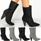 Womens Ladies Pull On Slouch Ankle Boot Cone Block High Heel Celeb Oversize Size
