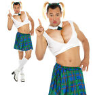 Sexy School Girl Costume Stag Do Funny Drag Adult Mens Fancy Dress Outfit