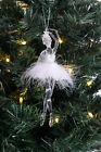 Christmas Tree Ballerina Decoration Hanging Ornament Gold Pink Feather Figurines