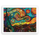 Spray Printed Oil Painting Colorful Abstract Sky Wall Decor On Canvas Unframed