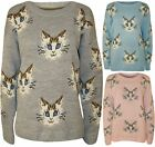 NEW WOMENS MULTI CAT FACE PRINT LONG SLEEVE CREW NECK KNITTED SWEATER JUMPER TOP