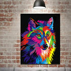 Modern Picture Oil Painting Colorful Wolf Head On Canvas Wall Decor Unframed US