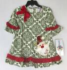 Counting Daisies by Rare Editions Olive Red Santa Geo Dress  2T/2 3T/3 4T/4