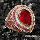 Pear Cut Red Zircon Stone 925 Sterling Silver and Bronze Ottoman Handmade Ring