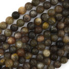 "Black Gray Sunstone Round Beads Gemstone 15"" Strand 4mm 6mm 8mm 10mm 12mm"