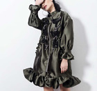 Chic Women Winter Beads Embroidered Satin Flare Sleeve Coat Jacket Asian Size